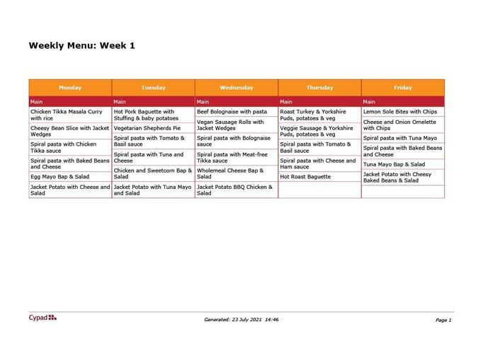 Week 1 Menu  2.8.21 to 23.8.21
