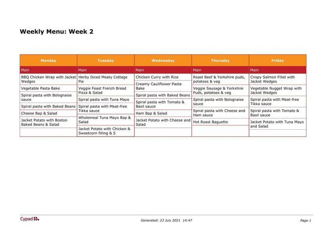 Week 2 Menu 9.8.21 to 30.8.21