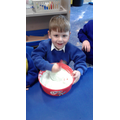We mixed in shaving foam.