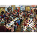 Staff and Children enjoying Christmas lunch