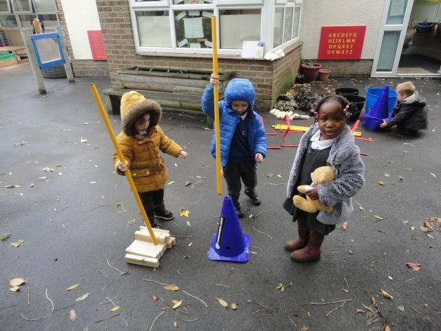 Nursery working together to build a shelter for CJ