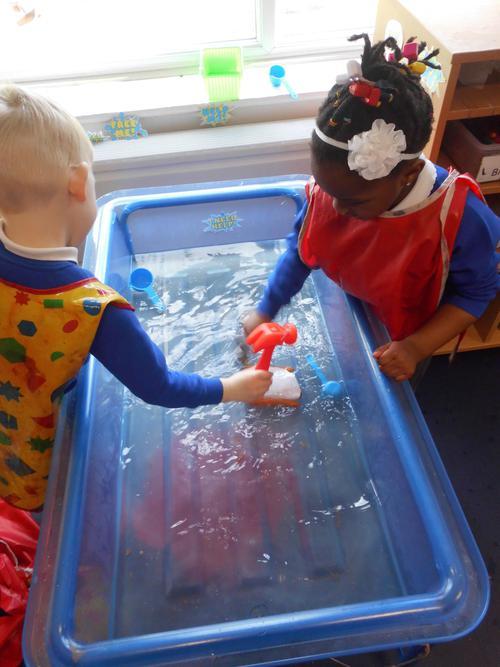 Superheroes in Nursery freeing the carrots!