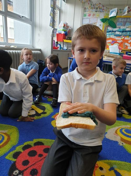 Damp tissue on fresh bread.