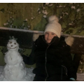 Mia built a snowman!