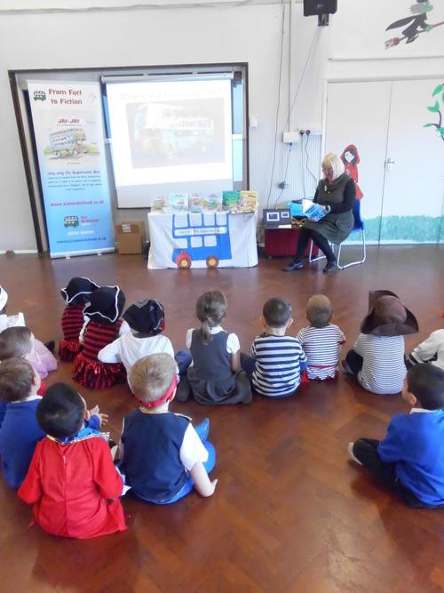 The children enjoyed looking at the play bus