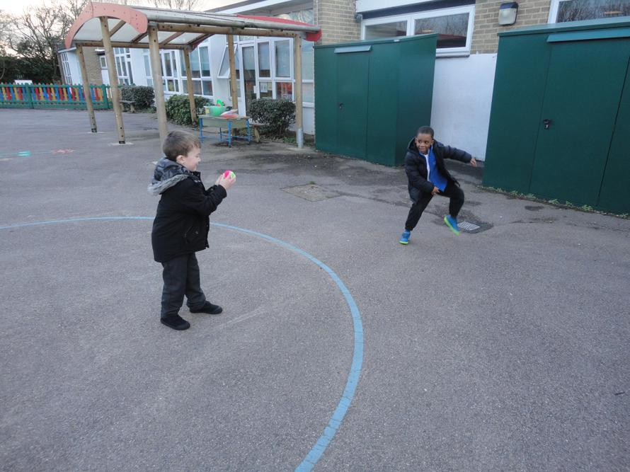 Throwing and catching with a partner