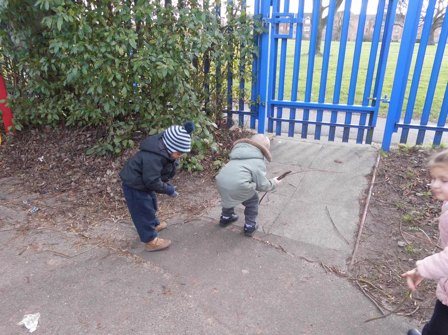 The children went outside to collect twigs