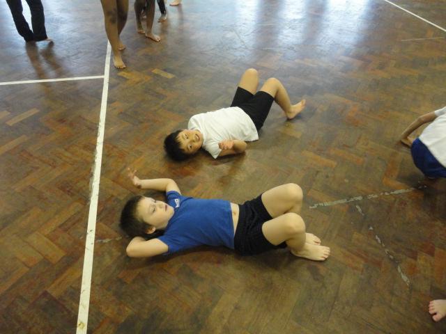 Dancing on the floor.