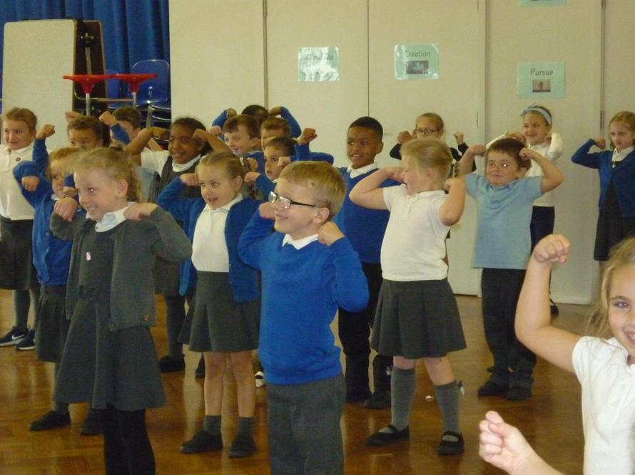 Year 1 following the dance moves.