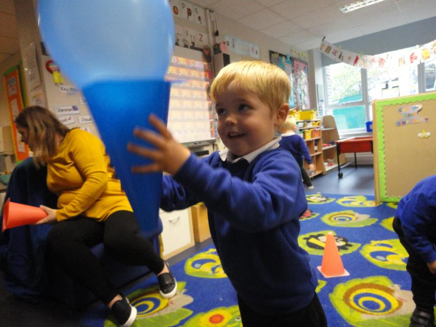 Catching a balloon in the cone