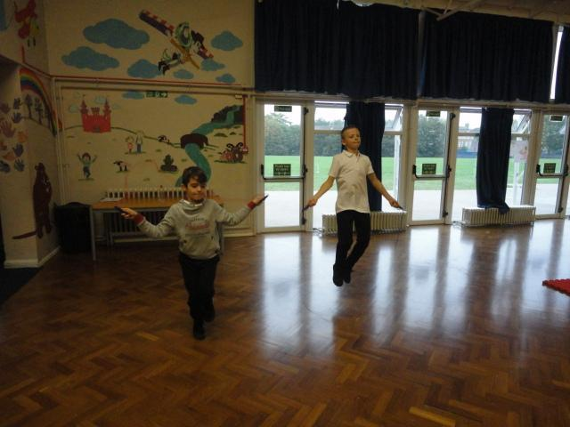 Skipping to develop fitness.
