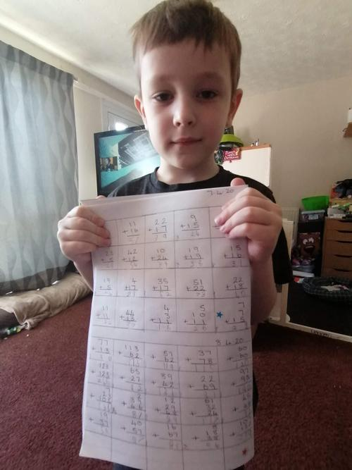 Mitchell practised his column addition!