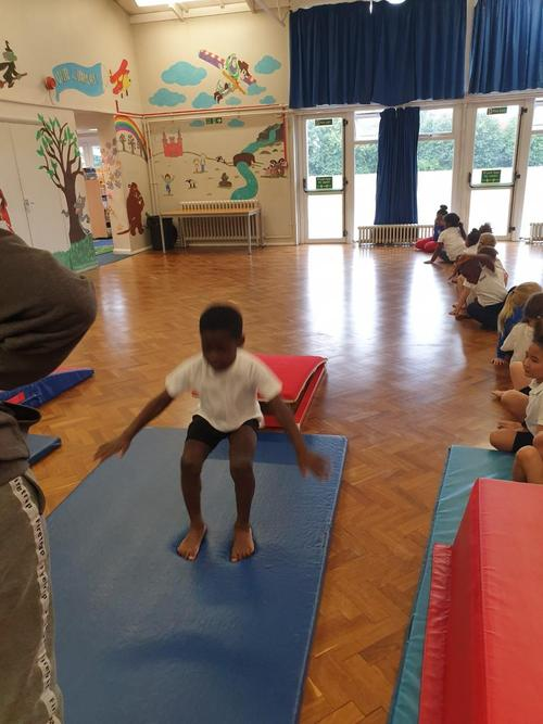 Learning jumps with the Gymnastics Coaches.