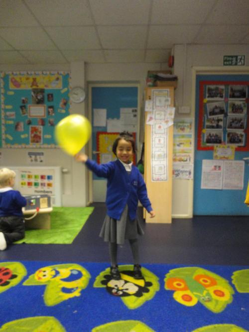 Throwing balloons and having fun