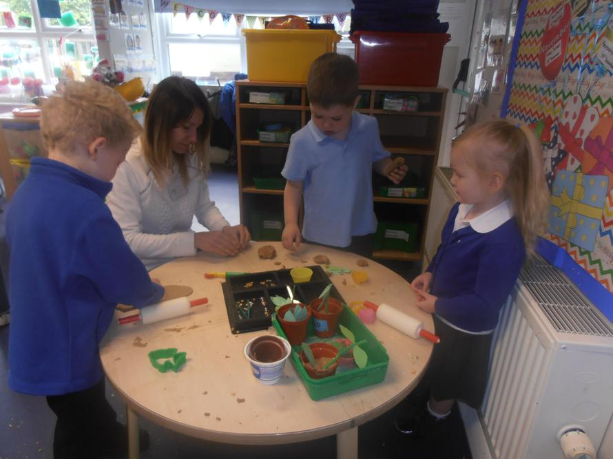 Making beanstalks with playdough and other things