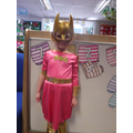 'I am batgirl today because i can fly' 'i've got a rope that i swing and tie bad guys up'
