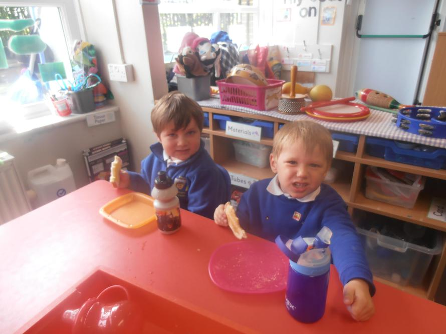 Enjoying bread for our snack!