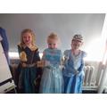 Merida and two Cinderella's.