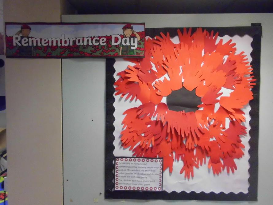 Nursery's class poppy fo Remembrance day