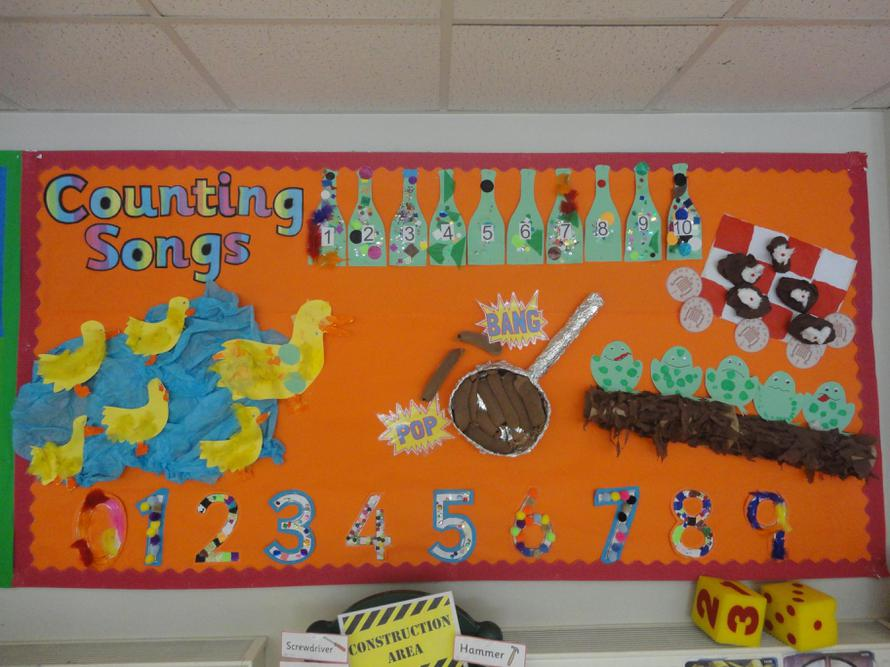 Our counting songs display in Nursery