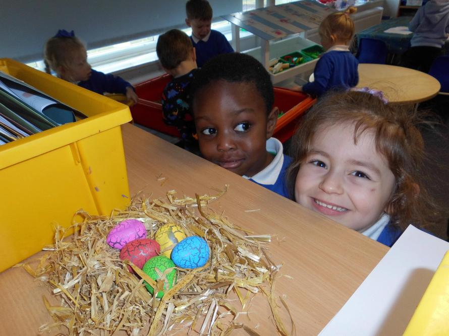 The children were happy they had found the eggs