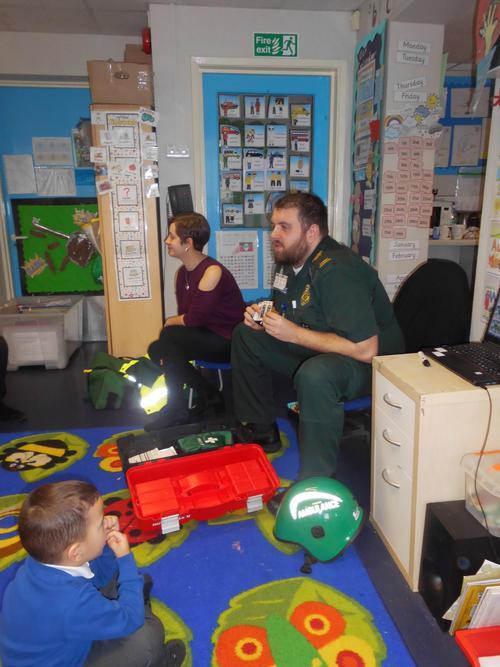 Ross showed the children his equipment
