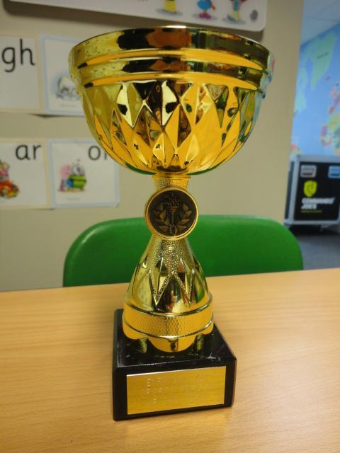 The winner's trophy to proudly display in school.