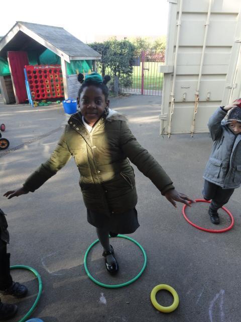 Balancing in a hoop.