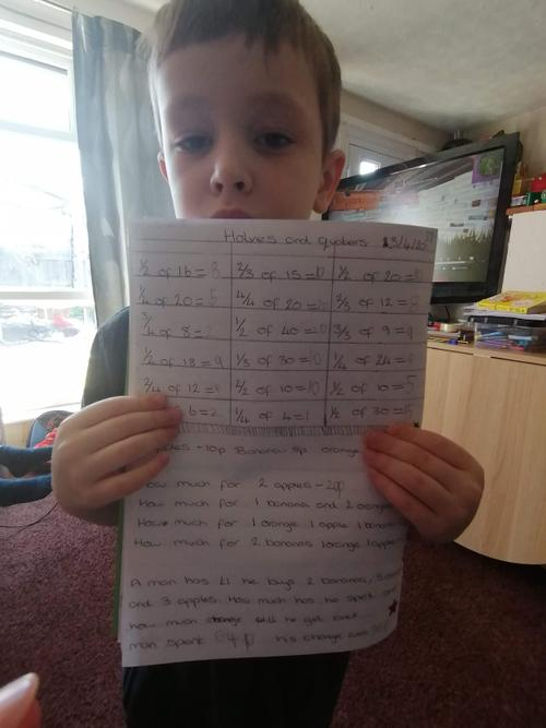 Mitchell worked hard on fractions!