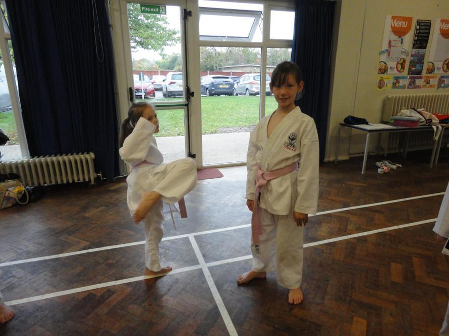 Practicing kicks