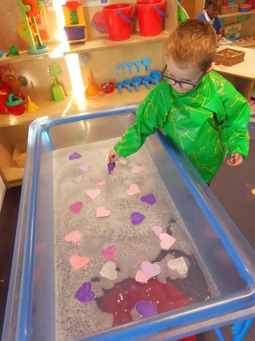 We had hearts and sparkles in the water tray!