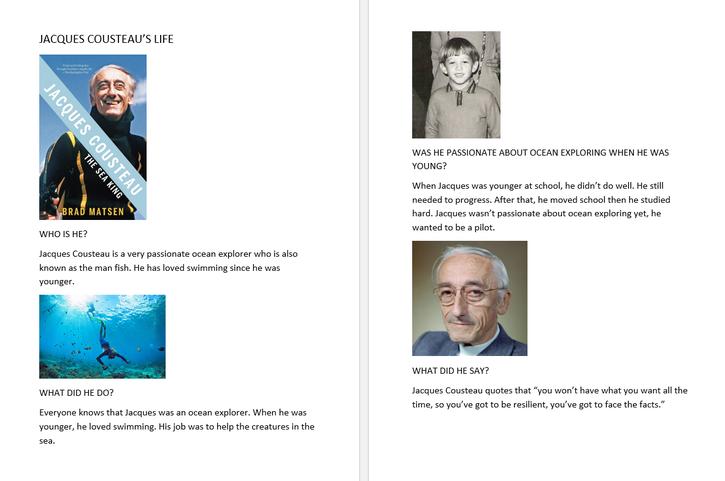 Matthew's Jacques Cousteau work 4CW