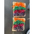 Making rainbow cheese toasties - step 1