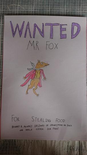 Super drawing of Mr Fox by Ryan in 4VB