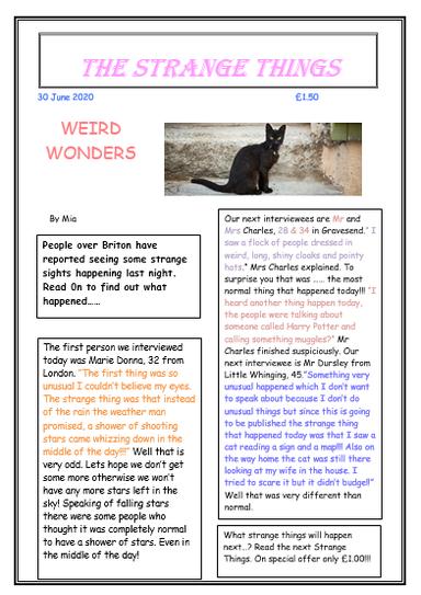Mia's wonderful newspaper! 4CW