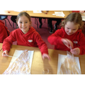 Cotswold children experimented with plant dyes, making their own bunting.