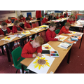 Cotswold children, inspired by Van Gough's Sunflowers, create their own art work.