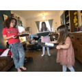 Eve and Eleonore doing the cricket session