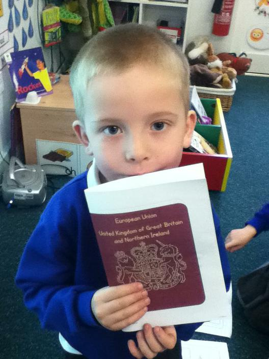 Jesse with his passport