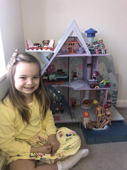 Can you find 4 animals in the doll house?