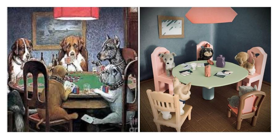 Louie's recreation of a Cassius Coolidge painting 'Dogs playing poker