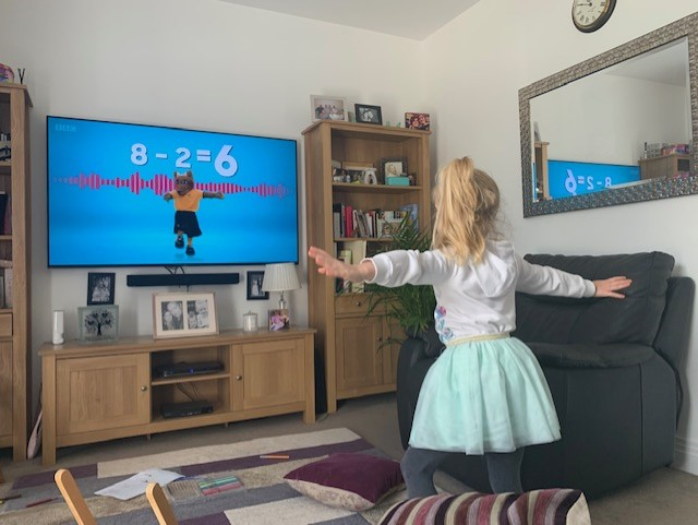Lillie doing maths on BBC Bitesize