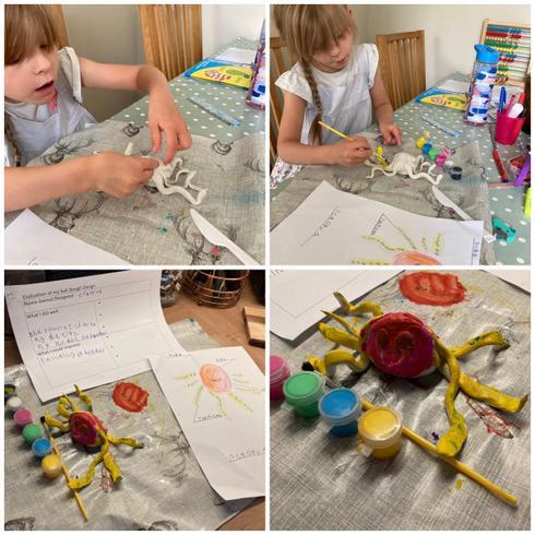 Evalyn creating her fantastic octopus