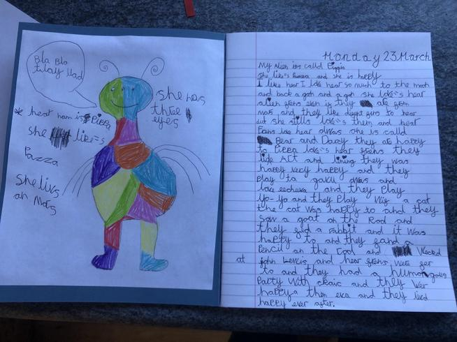Darcy invented an alien and wrote a description