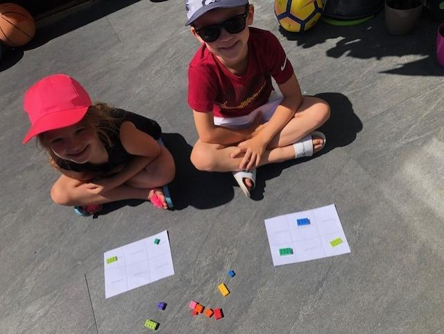 Jack and Leah playing number bingo