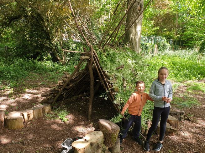 Danny building an amazing camp with his sister