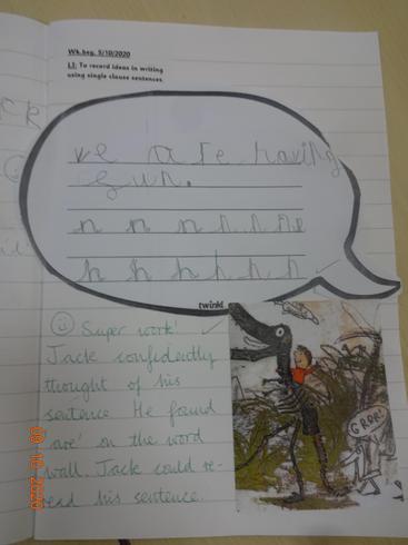 Writing in speech bubbles