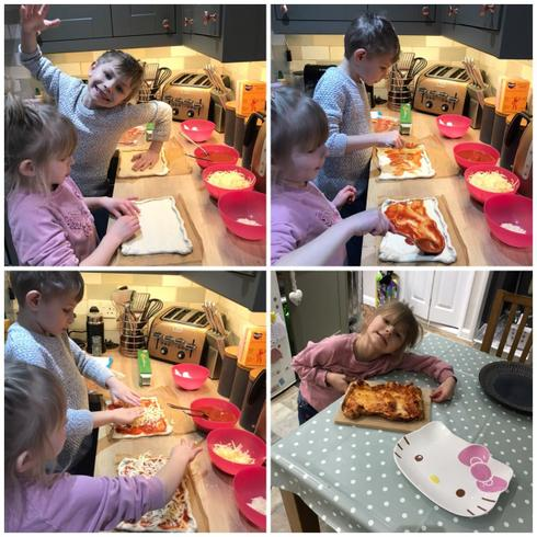Evalyn making pizza with her brother Harry