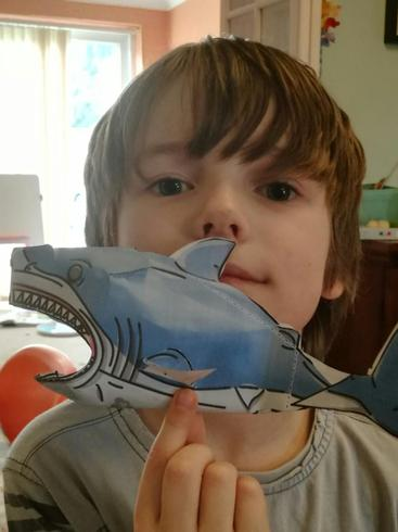Dexter with his paper shark