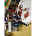 Painting footprints and Gruffalo pictures.